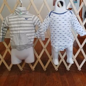 🐳9m Carter's whale jacket and shirt set 🐳